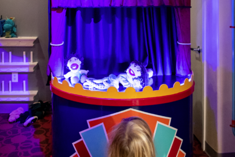 puppet theater lets your child put on plays with real puppets