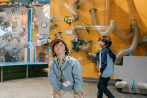 children stare in wonder at a floor to ceiling air maze that teaches about air currents