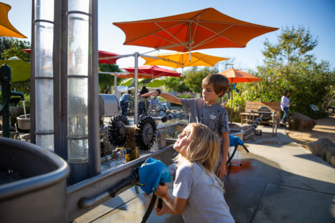 mechanical waterplay area where kids learn about hydro engineering