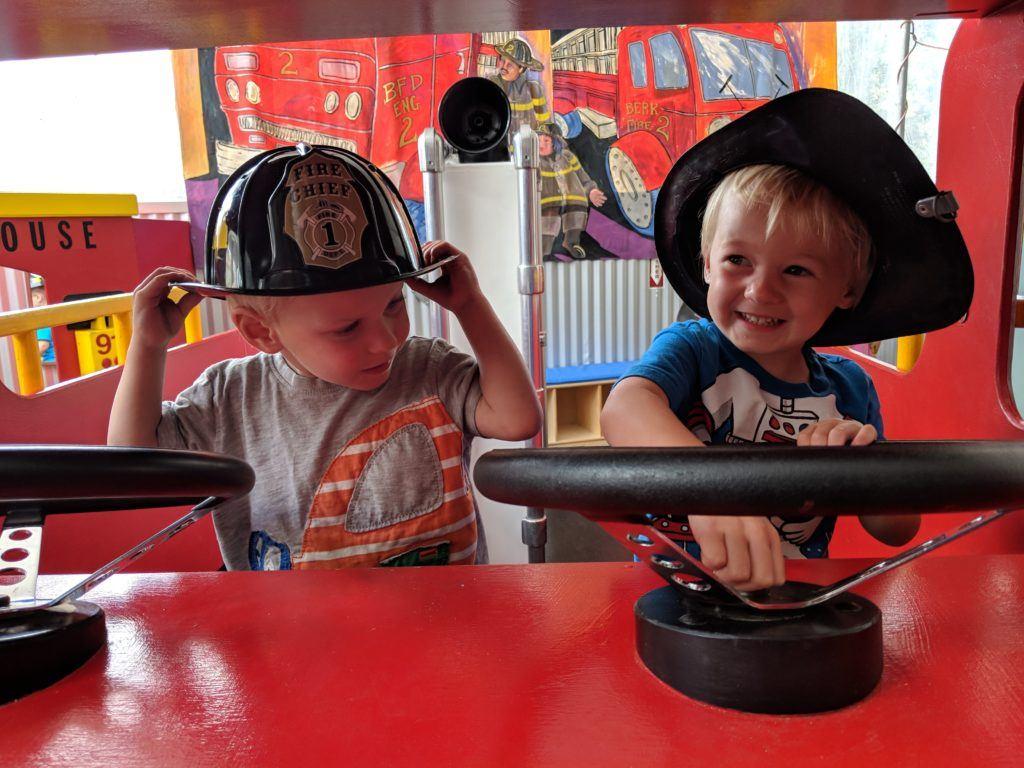 twins in firetruck