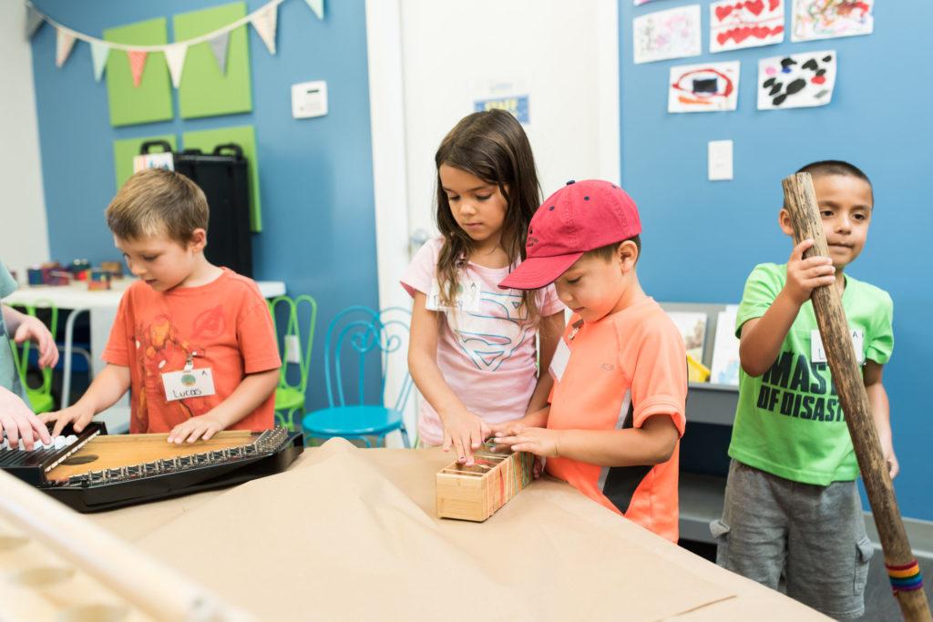 children playing indoors at wonder camp