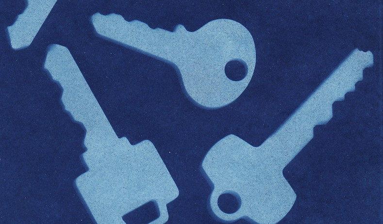 keys printed with sunprint kit on blue paper