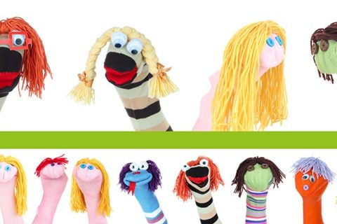 Collage of different funny sock puppets