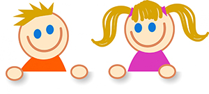 simple illustration of two children