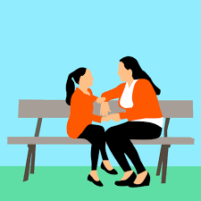 digital drawing of a mother talking to a young child