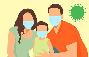 clip art of a family with child wearing coronavirus masks