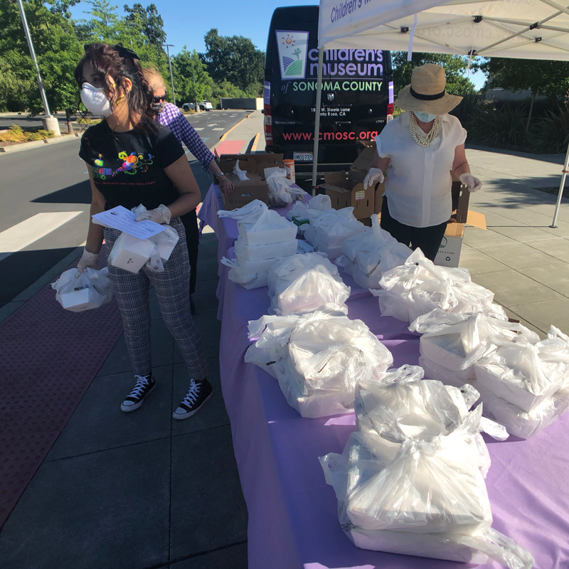 community engagement by handing out meals