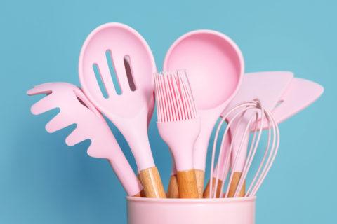 pink kitchen cooking utensils