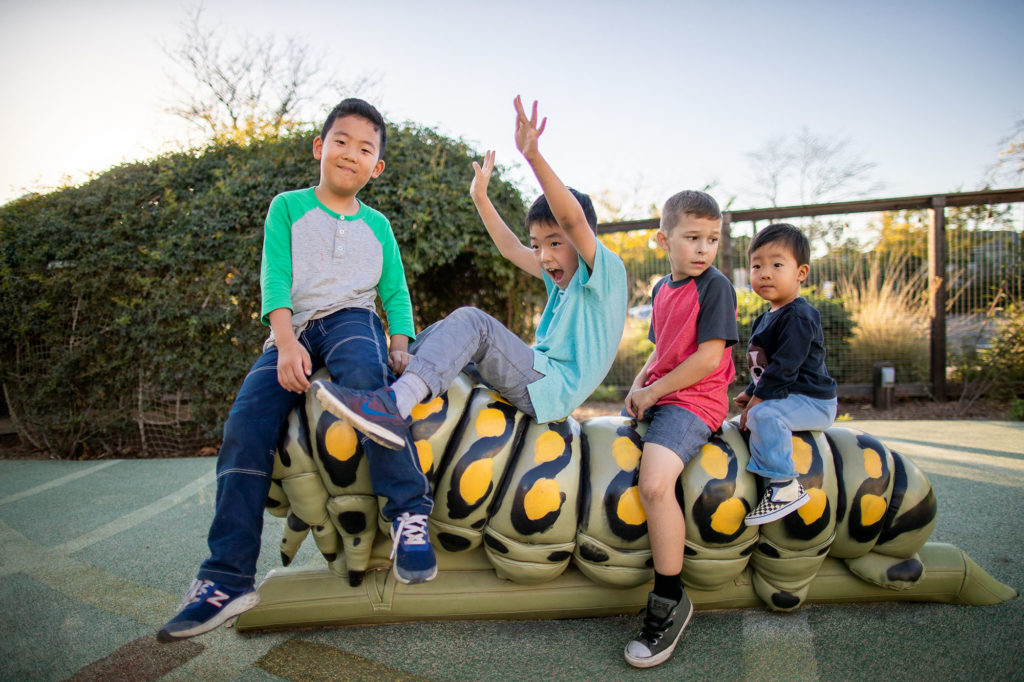 play structure caterpillar with children