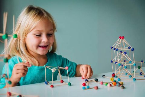 child making geometric shapes, learning engineering and STEM