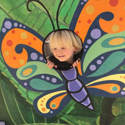 Toddler playing with the Life cycle of a Butterfly exhibit at the Children's Museum of Sonoma County.