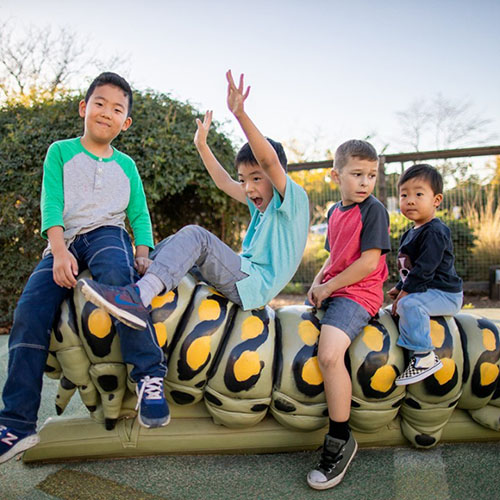 Children at the Children's Museum of Sonoma County playing on the Storybook Caterpillar.