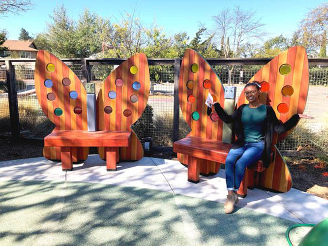 New Storytime Butterfly Benches at the Children's Museum of Sonoma County.