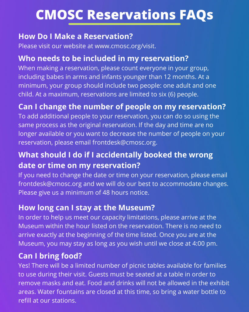 The Children's Museum of Sonoma County Reservations FAQ